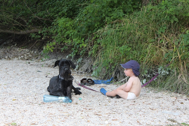 Dieser Hund hat es Anton so angetan, dass er ihm bereitwillig, seine Spielflasche geschenkt hat. Den Hund hat das sehr gefreut.
